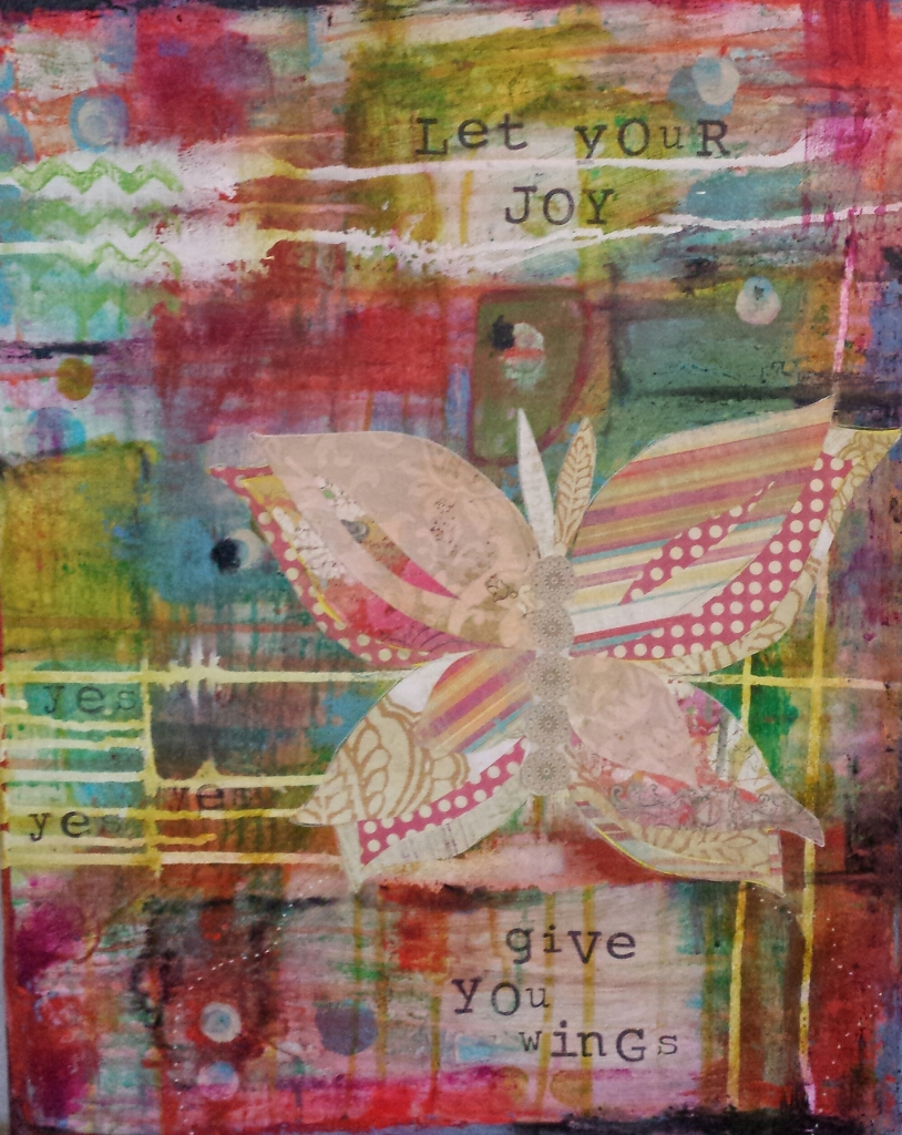 Let your joy give you wings original artwork by Stephanie Martel. Find 8x10 prints in my shop.