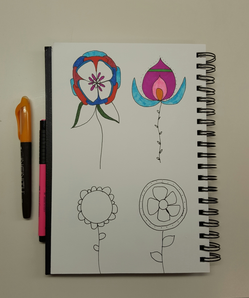 Flower doodle practice, which is your favorite?
