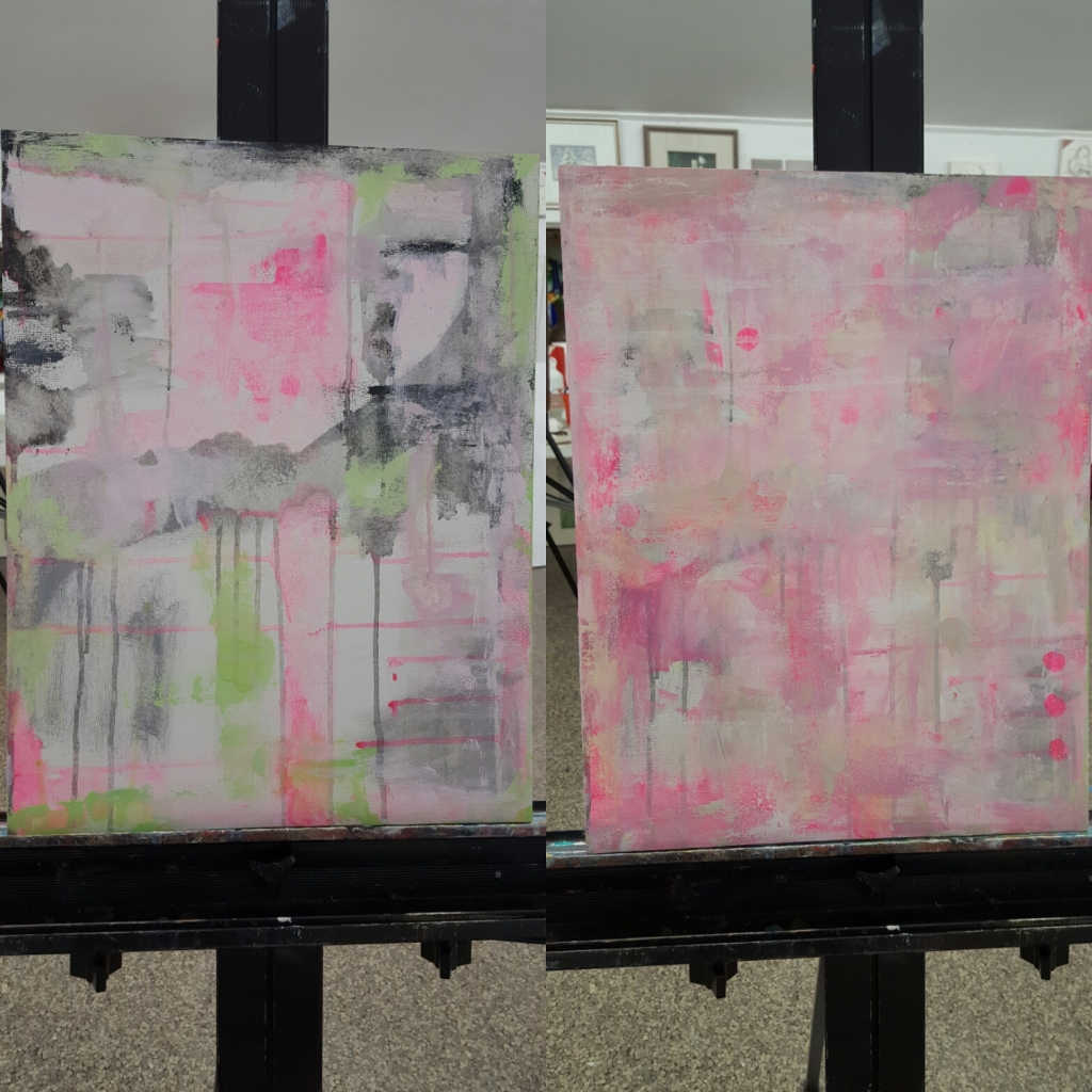 In class progress, before and after shots of the same painting